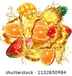 mix tropical fruits into of... | Shutterstock .eps vector #1132850984