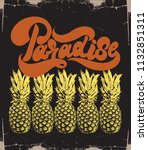 paradise. vector hand drawn... | Shutterstock .eps vector #1132851311