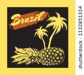 brazil. vector hand drawn... | Shutterstock .eps vector #1132851314