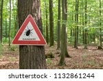 tick insect warning sign in... | Shutterstock . vector #1132861244