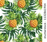 pineapples on the background of ... | Shutterstock .eps vector #1132861904