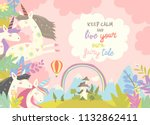 cute magic unicorns and castle | Shutterstock .eps vector #1132862411