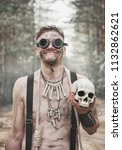 cannibal man in glasses with...   Shutterstock . vector #1132862621