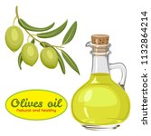 vector olive oil in glass... | Shutterstock .eps vector #1132864214