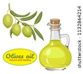 vector olive oil in glass... | Shutterstock .eps vector #1132864214