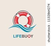 red lifebuoy design element... | Shutterstock .eps vector #1132864274
