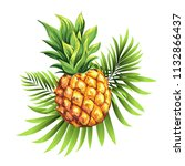 pineapple with leaves of... | Shutterstock .eps vector #1132866437