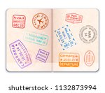 realistic open foreign passport ... | Shutterstock .eps vector #1132873994