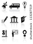 Set of black school icons on a white background, illustration - stock photo