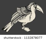 toucan. black and white... | Shutterstock . vector #1132878077