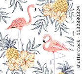 tropical pink flamingo birds ... | Shutterstock .eps vector #1132880324