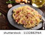 delicious carbonara pasta | Shutterstock . vector #1132882964