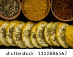 squash yellow cut slices... | Shutterstock . vector #1132886567