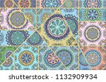 vector patchwork quilt pattern. ...   Shutterstock .eps vector #1132909934