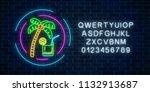 glow neon alphabet and symbol...   Shutterstock .eps vector #1132913687