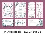 wedding card templates set with ... | Shutterstock .eps vector #1132914581