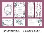 wedding card templates set with ... | Shutterstock .eps vector #1132915154