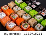 japanese sushi rolls in the... | Shutterstock . vector #1132915211