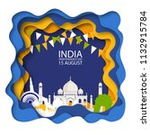 indian independence day... | Shutterstock .eps vector #1132915784
