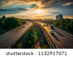 city traffic on asphalt road or ... | Shutterstock . vector #1132917071