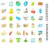 postal parcel icons set.... | Shutterstock . vector #1132929101