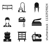 lodging place icons set. simple ...   Shutterstock . vector #1132929824