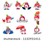 vector cute radish smile... | Shutterstock .eps vector #1132931411