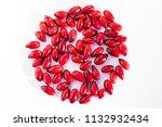 fresh cornel berries. art print ...   Shutterstock . vector #1132932434