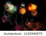 beautiful color fireworks... | Shutterstock . vector #1132940975