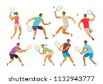 tennis player with tennis... | Shutterstock .eps vector #1132943777