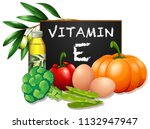 foods with vitamin e... | Shutterstock .eps vector #1132947947