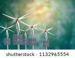 solar wind turbine natural... | Shutterstock . vector #1132965554