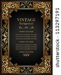 vintage black background ... | Shutterstock .eps vector #113297191