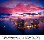 hong kong cityscape in magic... | Shutterstock . vector #1132980191