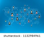 people connected by social... | Shutterstock .eps vector #1132984961