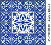 majolica pottery tile  blue and ... | Shutterstock .eps vector #1133018135