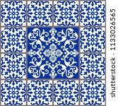 majolica pottery tile  blue and ... | Shutterstock .eps vector #1133026565