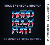 hard rock alphabet font. metal... | Shutterstock .eps vector #1133035841