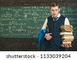 check homework. teacher formal... | Shutterstock . vector #1133039204