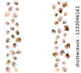 hands border  palms frame... | Shutterstock .eps vector #1133046161