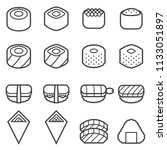 sushi thin line icons | Shutterstock .eps vector #1133051897