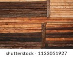 variable rustic wooden log wall ... | Shutterstock . vector #1133051927