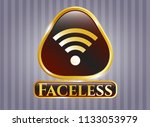 gold shiny emblem with wifi...   Shutterstock .eps vector #1133053979