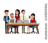 business teamwork with laptop   Shutterstock .eps vector #1133054561