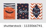 happy halloween greeting card ... | Shutterstock .eps vector #1133066741