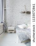 spacious stylish white loft...   Shutterstock . vector #1133072861
