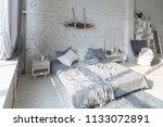 spacious stylish white loft...   Shutterstock . vector #1133072891