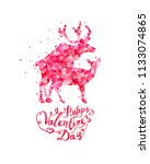 happy valentines day card with... | Shutterstock .eps vector #1133074865