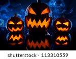three smoking pumpkins for... | Shutterstock . vector #113310559