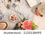 beach towel on sandy floor | Shutterstock . vector #1133138495